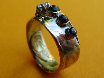Japanese Mokume Gane and birthstone wedding ring
