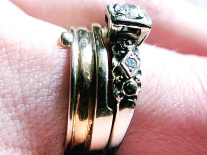 Bride's wedding ring with engagement ring