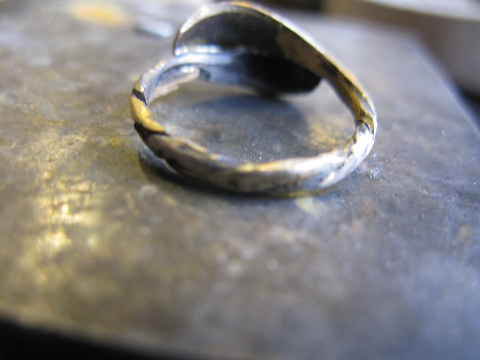 hammered down back of ring